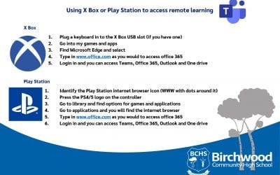 Did you know that you can access your remote learning from your games console? See our easy instructions here.